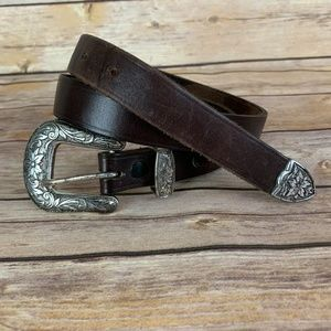 S Brown Leather Silver Floral Print Buckle Belt